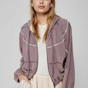 Free People Pipeline Hoodie S Cropped Zip Pocket